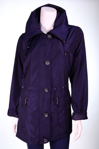 ASRA 1074 LS Collar Removable Hood Pocket with Rings Zip and Button Jacket - Aurora Boutique Online