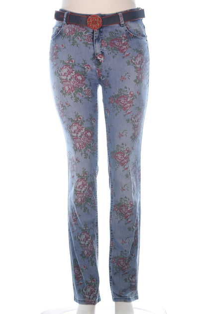 ESPARANTO Red Rose Print Denim Pants - Aurora Boutique South Africa