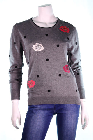 FELICITA LS Oval Neck MC Roses with Polka Dots Top - Aurora Boutique Online