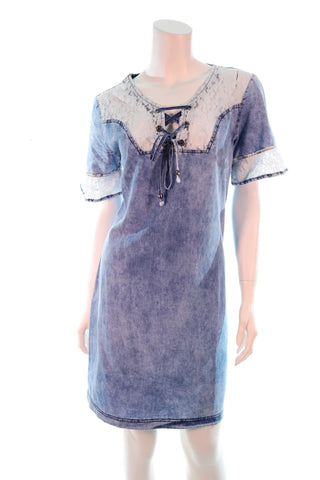 Tie String Lace Bust Denim Dress - Aurora Boutique South Africa