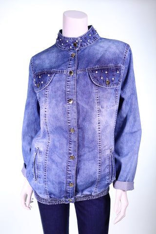 PATETTI 10218 LS Beaded Jeans Jacket - Aurora Boutique Online