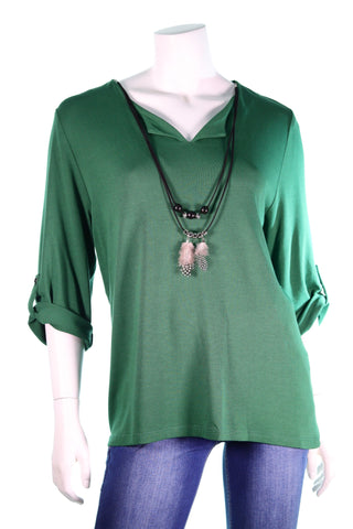 Serfa LS V-Neck Feder & Beads Neclece  Button Roll-up Sleeve Top - Aurora Boutique Online