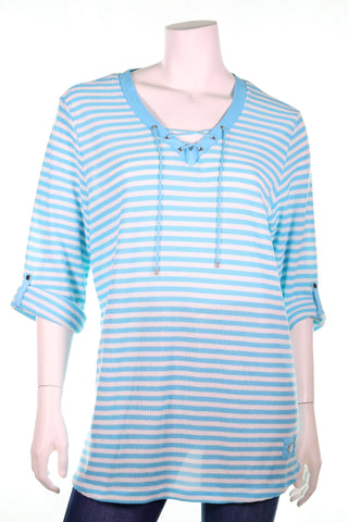 TOP SECRET 34S Knitted Oval Neck Rope Detail Horizontal Stripes Top - Aurora Boutique Online