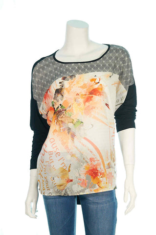 GR Three Quarter Sleeve Front Floral Top - Aurora Boutique South Africa