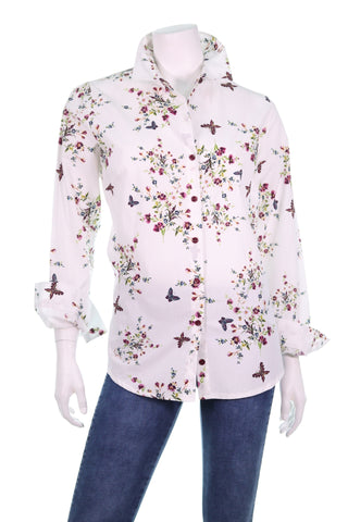 FUERTE LS all Around Butterfly and Floral Print Button Shirt - Aurora Boutique Online
