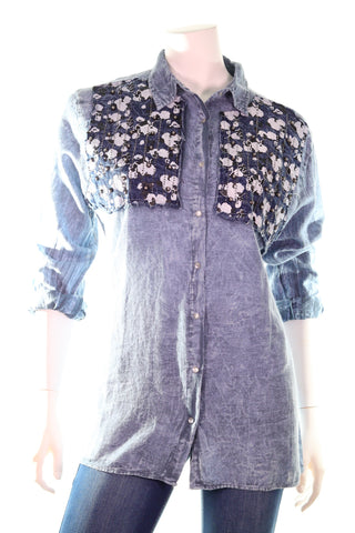 QUI LS Collet Clip Button Bust Sequence Beads & Patch Detail Shirt - Aurora Boutique South Africa