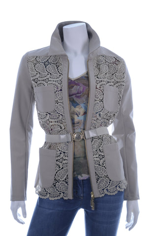 LASAGRADA Long Sleeve Waist Belt Zip Croshet Jacket - Aurora Boutique Online