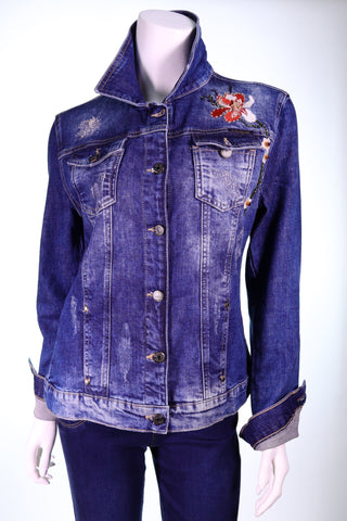 EURO FASHION 6117 LS Collar Denim Button Floral Embroidery Jacket - Aurora Boutique Online