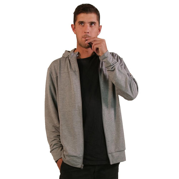 VAPRWEAR LIGHTWEIGHT STRETCH FULL-ZIP, VAPE-READY HOODIE Apparel Vaprwear SMALL GRAY