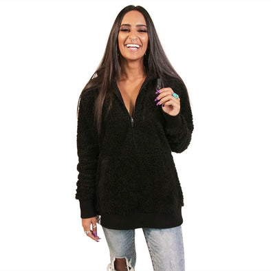 VAPRWEAR SHERPA HALF-ZIP, VAPE-READY HOODIE (REVERSIBLE) Apparel Vaprwear SMALL BLACK