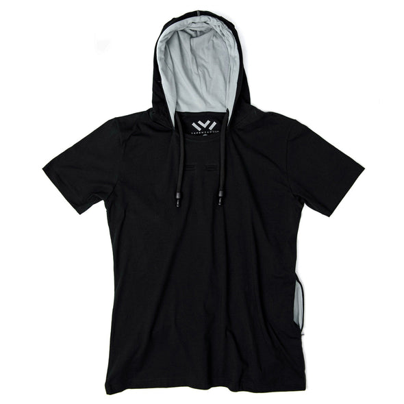 VAPRWEAR SHORT SLEEVE T-SHIRT, VAPE-READY HOODIE (BLACK) Apparel Vaprwear Medium BLACK/CHARCOAL
