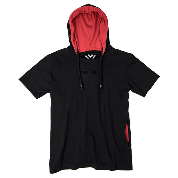 VAPRWEAR SHORT SLEEVE T-SHIRT, VAPE-READY HOODIE (BLACK) Apparel Vaprwear X-Large BLACK/RED