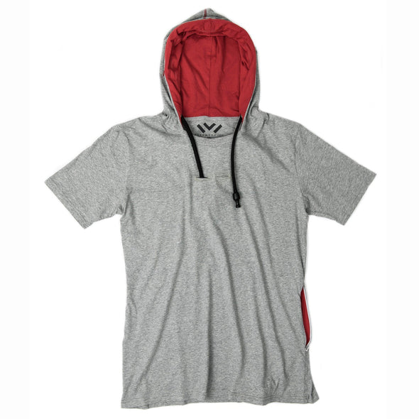 VAPRWEAR SHORT SLEEVE T-SHIRT, VAPE-READY HOODIE (GRAY) Apparel Vaprwear X-Small GRAY/RED