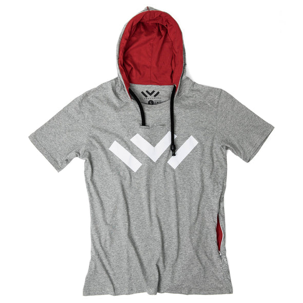 VAPRWEAR SHORT SLEEVE T-SHIRT, VAPE-READY HOODIE (GRAY W/ LOGO) Apparel Vaprwear Small GRAY/RED