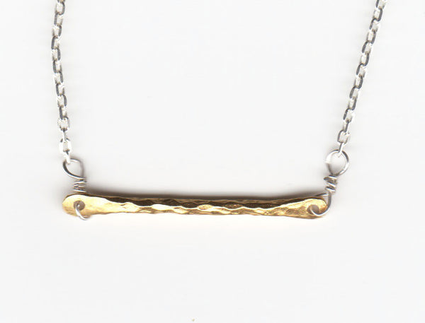 Textured Small Bar Necklace
