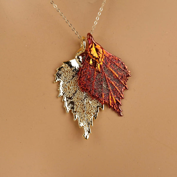Double Birch Leaf Necklace