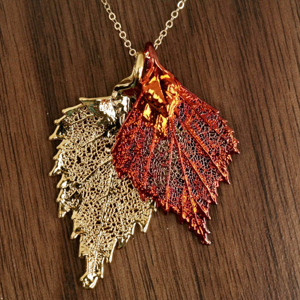 Double birch real leaf necklace