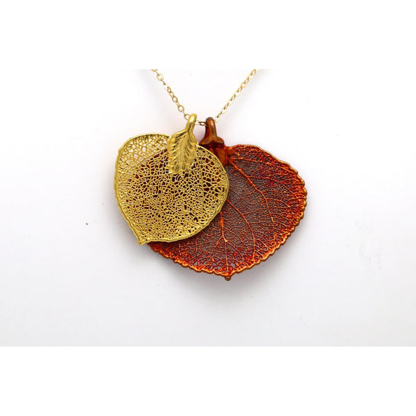 Double Aspen Real Leaf Necklace