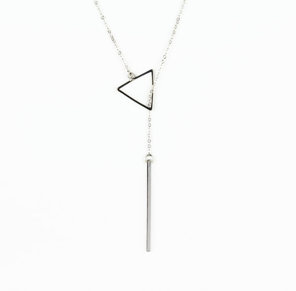 Lariat Triangle & Bar Necklace - Long