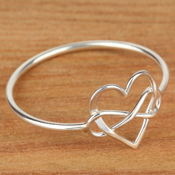 infinity heart sterling silver ring