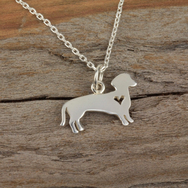 Dachsund Weener dog necklace silver