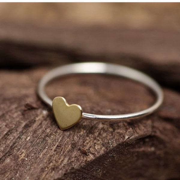 Mixed Metal Heart Ring