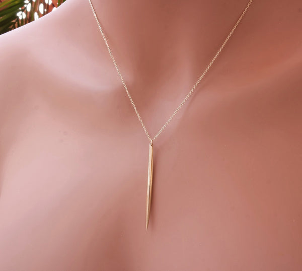 Long Gold Spike Necklace
