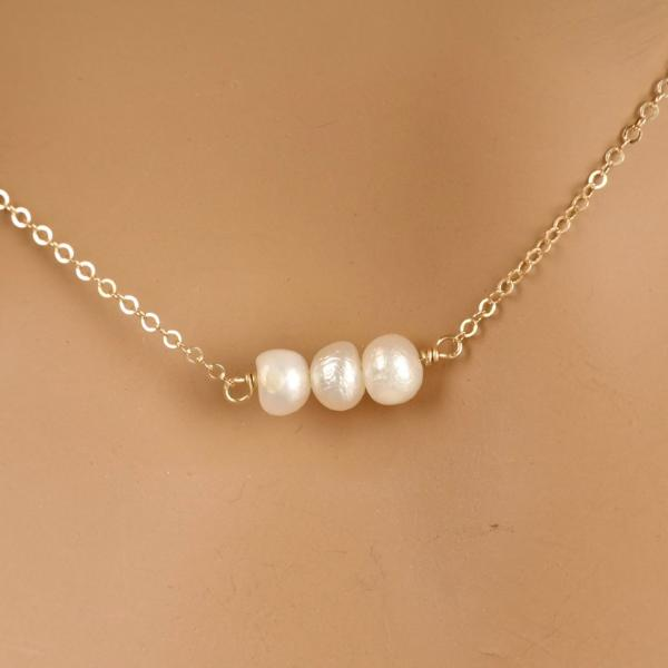 Triple Mini Freshwater Pearl Necklace