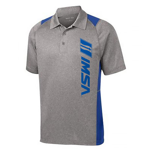 IMSA Logo Color Block Performance Polo - Grey/Royal