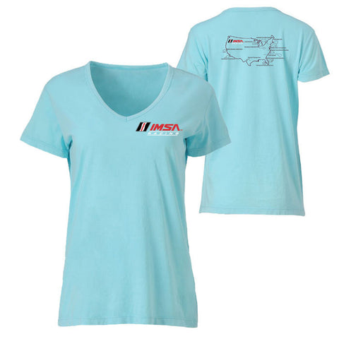 IMSA Racing Ladies' V-Neck Map Tee - Surf Blue