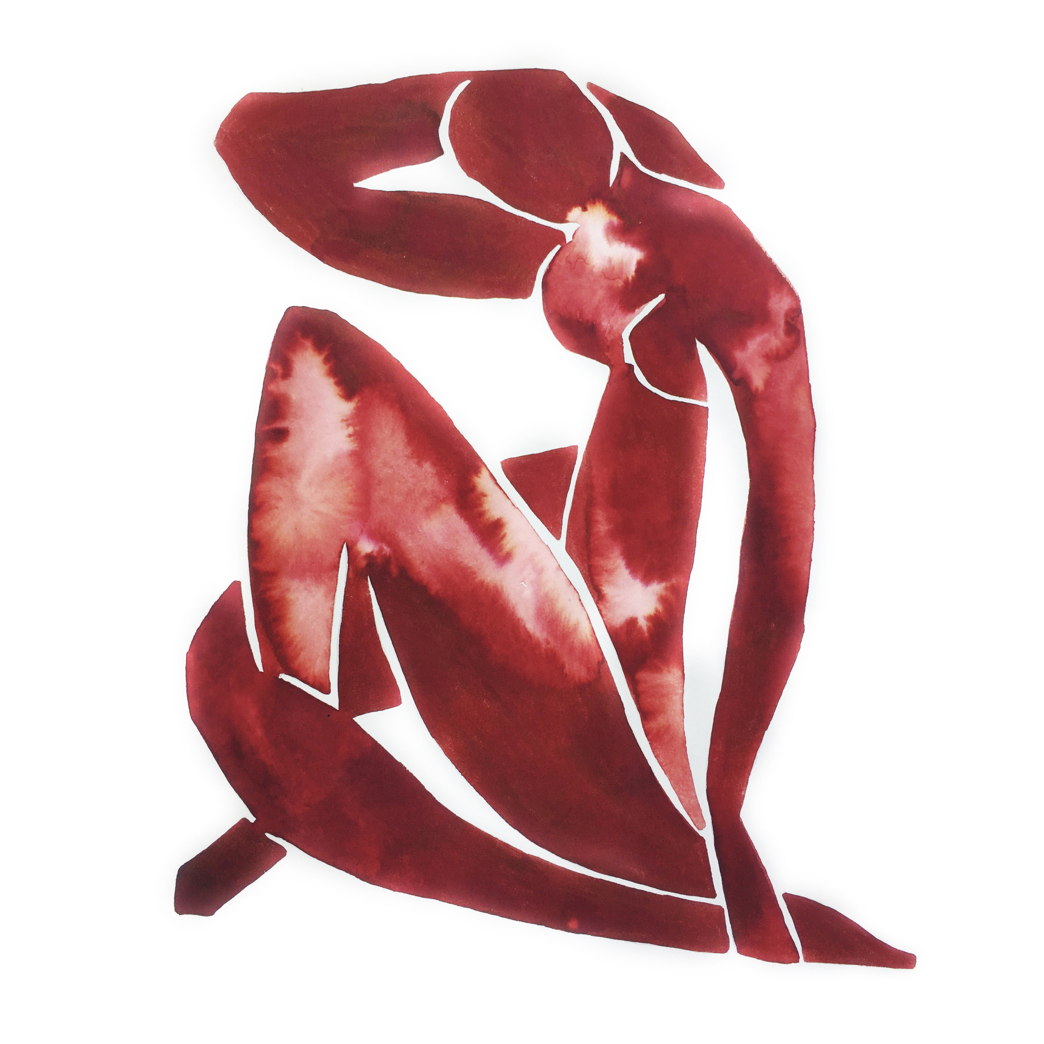 Matisse's Blue Nude Wearing Oxblood Red