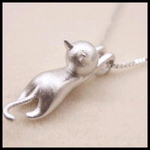 Matte Silver Hanging Cat Necklace