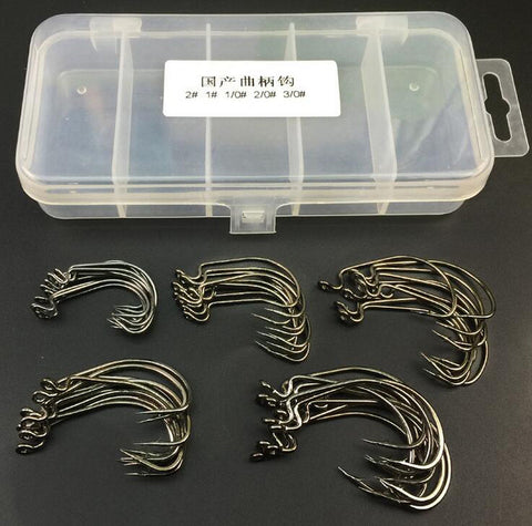 50pcs Carbon Steel Crank Hooks Set 5 Size 1# 2# 1/0# 2/0# 3/0# Soft Bait Fish Hook Fishhooks with Storage Box Fishing Tackle