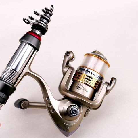 Telescopic Fishing Pole Full Kit Spinning Reel Set with Fish Line & Fishing Accessories