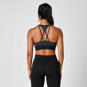 Black / Slate Melange Cross Strap Crop Top