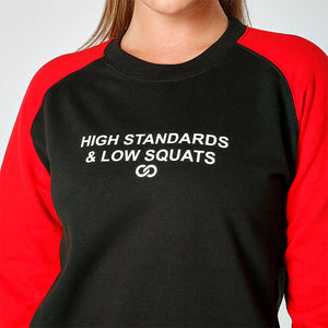 HIGH STANDARDS & LOW SQUATS BASEBALL SWEATSHIRT