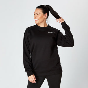 Black Raglan Crew Neck Sweatshirt