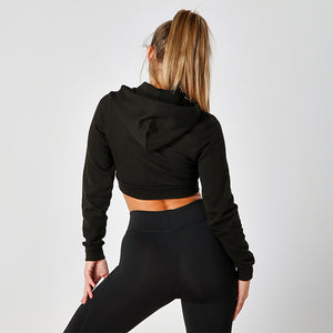 BLACK CROPPED HOODIE WITH ZIP