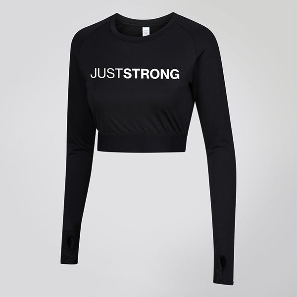 Jet Black Long Sleeve Crop