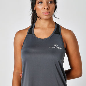 Mesh Top Charcoal Racerback Just Strong Tank
