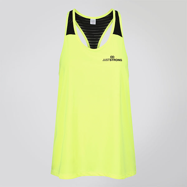 MESH TOP ELECTRIC YELLOW RACERBACK JUST STRONG TANK
