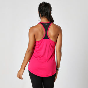 MESH TOP PINK RACERBACK JUST STRONG TANK