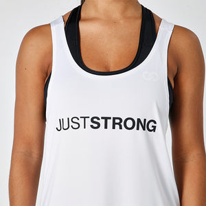 WHITE JUST STRONG RACERBACK TANK