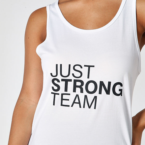 WHITE JUST STRONG TEAM TANK - EXCLUSIVE FOR AMBASSADORS