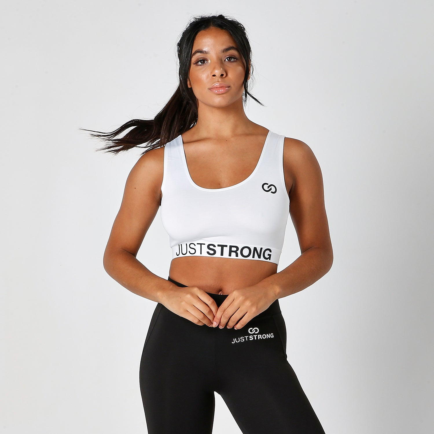 ALL WHITE JUST STRONG SPORTS BRA