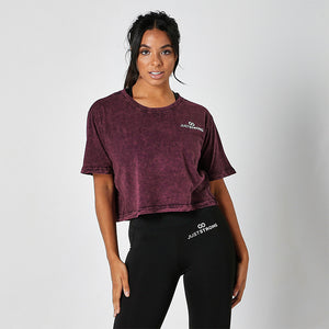 BERRY ACID WASHED CROPPED TEE
