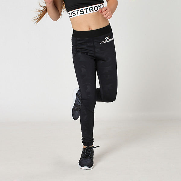 Black Camo Just Strong Kids Leggings