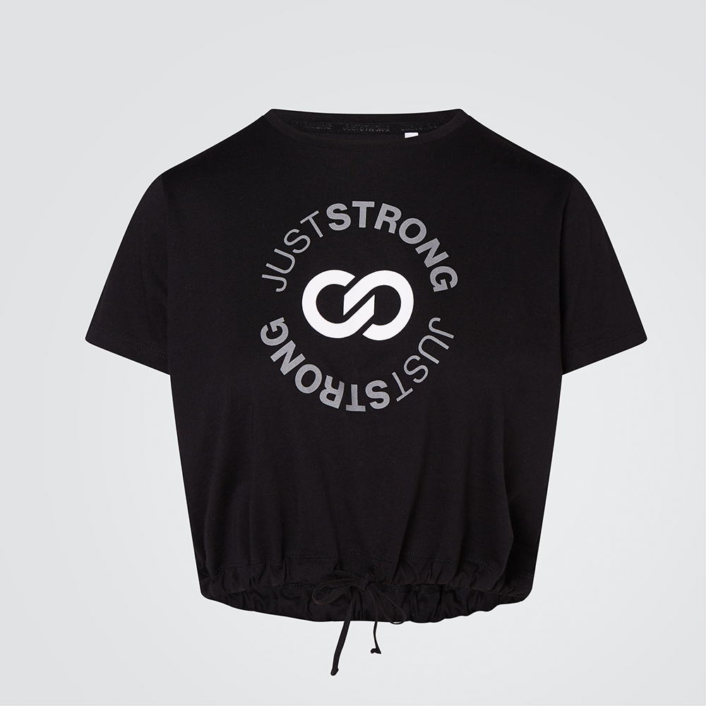 Black Reflective Cropped Stamp Graphic Tee