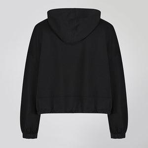 Black Cropped Statement Hoodie
