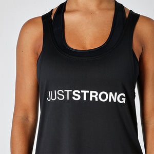 BLACK JUST STRONG RACERBACK TANK